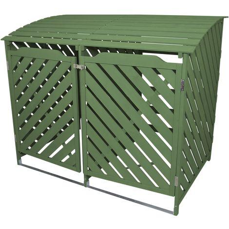 Mülltonnenverkleidung 2er Tonnen Mülltonenbox Mülltonnenschrank Mülltonne Abdeckung Verkleidung Garten Salbei-Grün