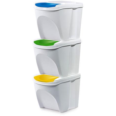 Mülltrennsystem 3x25 Liter -MIKWB25S3-Weiß