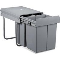 Mülltrennsystem 40 Liter, HxBxT: 41,8 x 34,2 x 48 cm, 3 Mülleimer, Deckel, für Küche, Kunststoff, Metall, grau