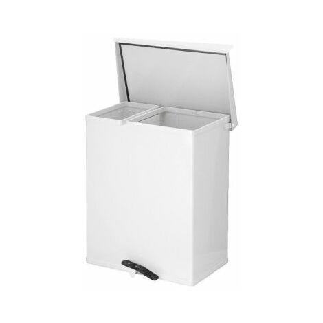 Mülltrennsystem | Mit 2 Sammeleinheiten | Alumimium | Weiß