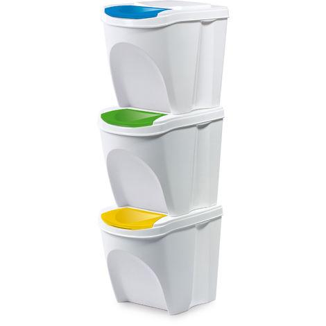 Mülltrennsystem Set 3 fach Mülleimer Abfalleimer Mülltrennung Müllbehälter stapelbar Kunststoff mit Deckel 60L 3 x 20L