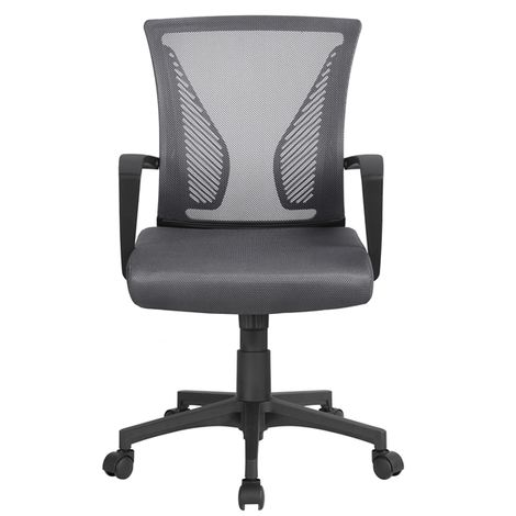 Multi Color Desk Chair Executive Computer Office Chair, Ergonomic Adjustable and Swivel Fabric Mesh Chair with Comfortable Lumbar Support (Dark Grey)