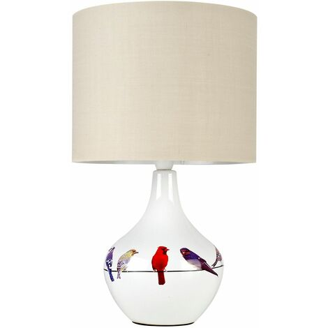 Multi Coloured Birds White Ceramic Table Lamp