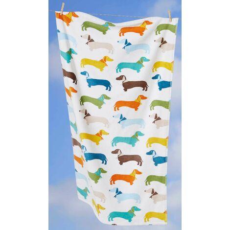Multi Coloured Sausage Dog Dachshund Supersoft 100% Cotton Towel