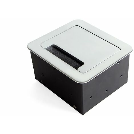 Multi-connecteur EU 145x130mm Atom Emuca pour encastrer au bureau en couleur noir