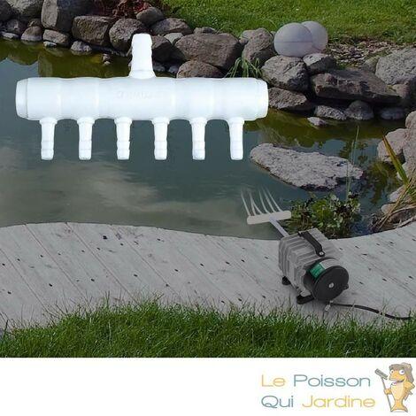 Multi Diviseur Plastique 6 Sorties Pour Aérateur & Pompe à Air Bassin & Aquarium - Blanc