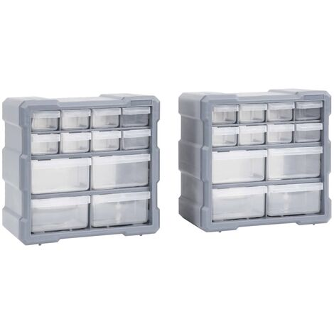 Multi-drawer Organisers with 12 Drawers 2 pcs 26.5x16x26 cm