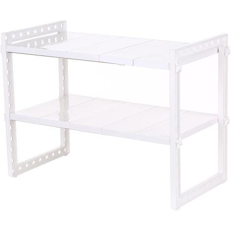 Multi-funcional bajo el fregadero de 2 niveles ampliable estante del organizador del almacenaje, estante del fregadero de cocina, blanca