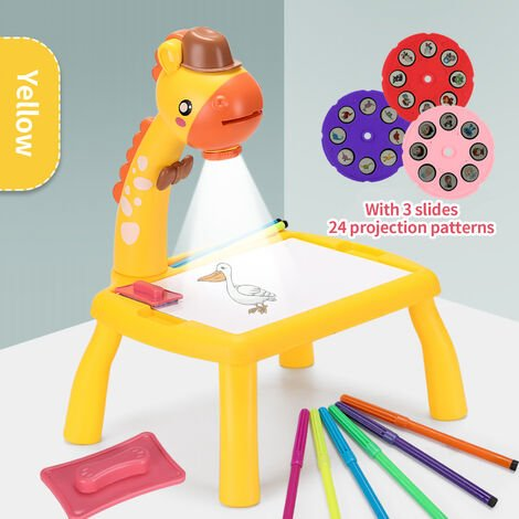 """main image of """"Multi-function Drawing Table Learning Desk with Music Function Trace and Draw Projector Art Drawing Board 24 Patterns Projection Tracing Painting Table Projection Sketchpad (Yellow),model:Yellow"""""""