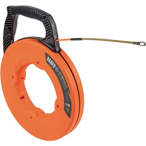 Multi-Groove Fiberglass Fish Tape with Spiral Steel Leader, 100-Foot