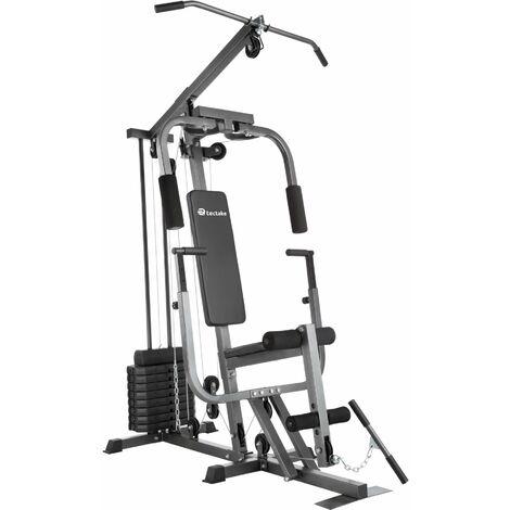 Multi gym with bench press - home gym, exercise machine, gym machine - black