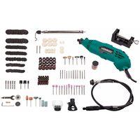 Multi-herramienta rotante de VONROC de 160W, eje flexible, con un juego de 232 accesorios y una bolsa para la herramienta