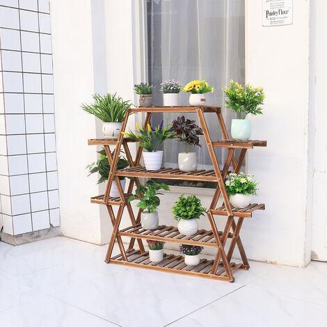 Multi-layer Flower PotsShelf Wooden Storage Unit Plant Display Stand Hexagonal