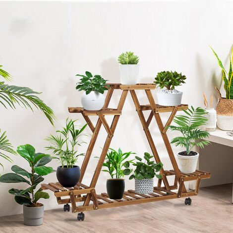 Multi-Layer Plant Stand Triangled Garden Wooden Shelving Flower Stand with Wheel