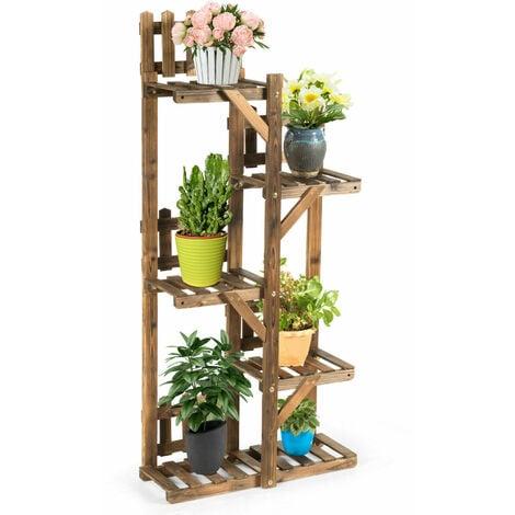 "main image of ""Multi-Layer Wooden Plant Pot Stand Indoor Outdoor Flower Display Shelf Rack"""