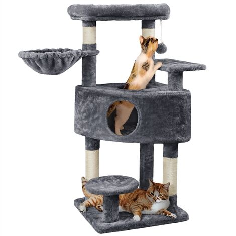 Multi Level Cat Tree Stand, Kitten Play and Climbing Tower Activity Centre with Plush Condo Scratching Post for Indoor Cats, Dark Grey