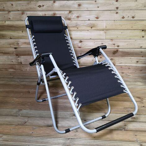 Multi Position Garden Gravity Relaxer Chair / Sun Lounger - BLACK/SILVER