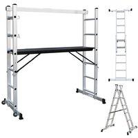 Multi Purpose Ladder, Scaffolding, 168 x 160 x 45 cm (5.5 x 5.25 x 1.48 feet), EN 131, Maximum load: 150 kg