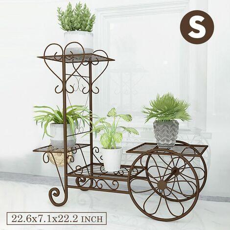Multi Tier Metal Flower Pot Shelf Patio Plant Display Rack Shelf Bracket (Copper, S)