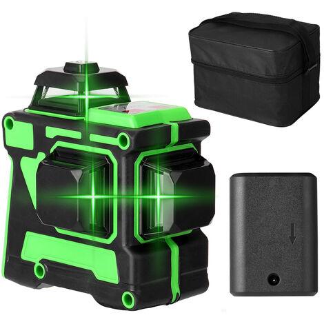 Multifonction 3D 12 Lignes Laser Verticales Niveau Outil Lignes Horizontales Avec Fonction Autonivelant, Deux Batteries