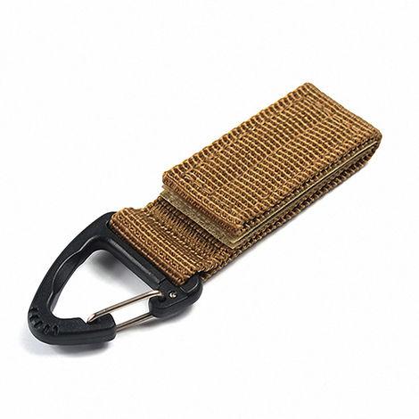 Multifonction Molle Sangles Clip De Ceinture Boucle D'Escalade Mousqueton A Haute Resistance En Nylon Sac A Dos Crochet Chaine Hanging Cle, Kaki