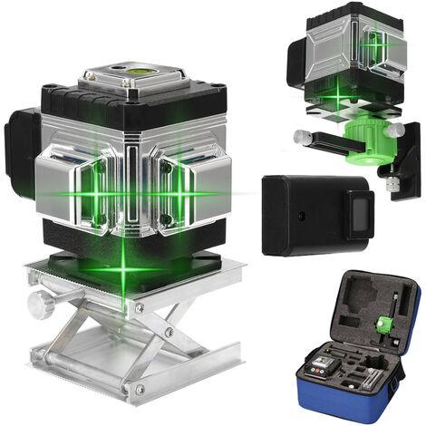 Multifonctionnel 12 Lignes Laser Niveau 3 ¡ã Autonivelant Fonction Outil De Nivellement Omnidirectionnel Au Sol Et Mur Autocollant Avec Vertical Horizontal Oblique Ligne
