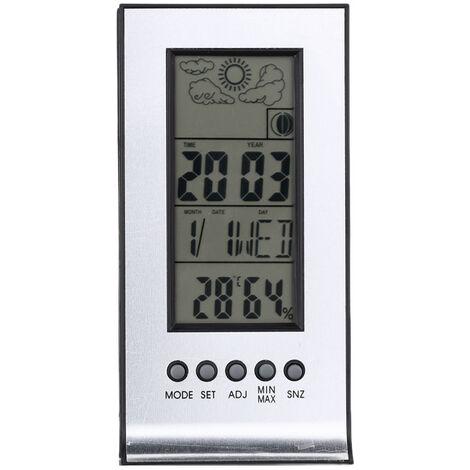 Multifonctionnel Interieur / Exterieur Thermometre Hygrometre Humidite Numerique Temperature Compteur Moniteur Reveil Ecran Lcd Calendrier