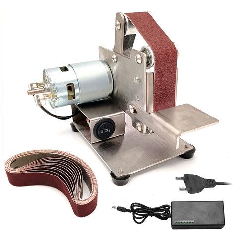 Multifuncional Mini amoladora electrica Cinturon Sander bricolaje Pulido Rectificadora cortador de bordes Sacapuntas, plata, enchufe de la UE, 2 #