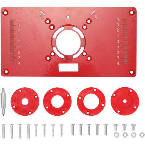 Multifuncional router Insertar tabla de la placa de la madera Bancos de madera de aluminio Router Trimmer Modelos maquina de grabado con 4 anillos de herramientas, 2 #