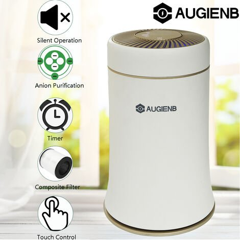 Multifunction Desktop Air Purifier Negative Ion Generator with Composite Filter 4-Mode Setting Quiet Air Freshener Timer?(white, US plug)