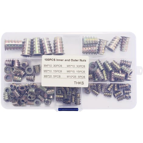 Multifunctional 100PCS Inner And Outdoor Nuts Alloy Furniture Socket Tip Cap Screw Sockets Thread Insert Assorted Tool Kit