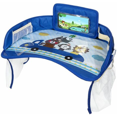 Multifunctional Cartoon Car Safety Seat Table Kids Toy Food Drink Table Tray Waterproof Stroller Holder Portable Car Baby Seat Table (Blue, D)