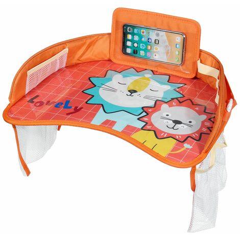 Multifunctional Cartoon Car Safety Seat Table Kids Toy Food Drink Table Tray Waterproof Stroller Holder Portable Car Baby Seat Table (Orange, Orange Lion)