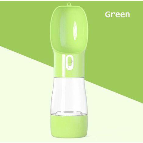 Multifunctional Pet Travel Mug Portable Dog Food Cup Water Bottle-258ml / 9.1oz / Food-200ml / 7oz Outdoor Feeder Dog Dish Pet Supplies (Green)