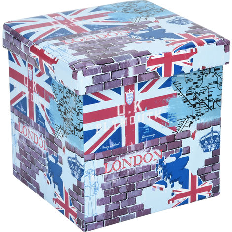 Multifunctional storage stool (38 × 38cm) ottoman - Pouf - footstool (LONDON) - PVC (patterned)