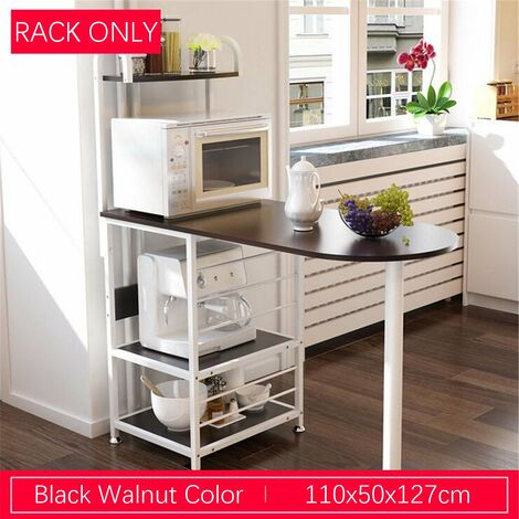 Multifunctional wooden breakfast bar table kitchen microwave rack