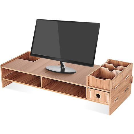Multifunctional Wooden Laptop Monitor Stand Wooden Desk Stand For Laptop TV