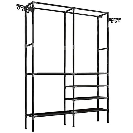 Multifuntion Clothes Rail Rack Garment Hanging Display Stand Shoe Shelf Storage 174*86*44cm Black