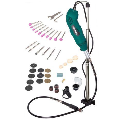 Multiherramienta rotante de VONROC de 160W, eje flexible, con un juego de 40 accesorios y una bolsa para guardar la herramienta