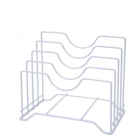 Multilayer storage holder for cutting board and lid, kitchen table multifunction holder, lid holder, white