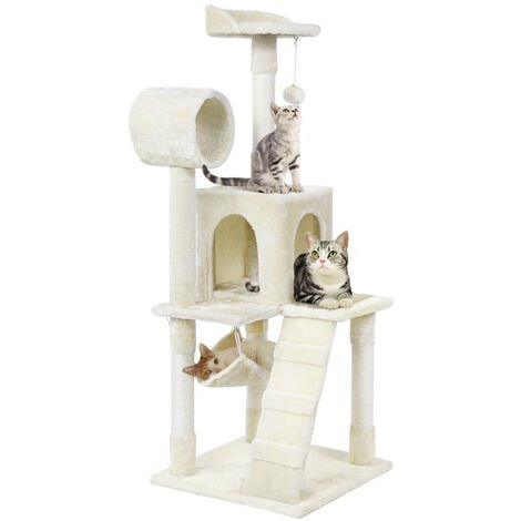 Multilevel Cat Tree Climbing Tower Scratching Post Activity Centre Scratcher Beige