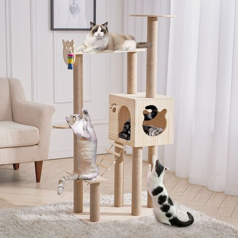 Multilevel Pet Cat Tree Climbing Tower Scratching Post Kitten Activity Centre Bed