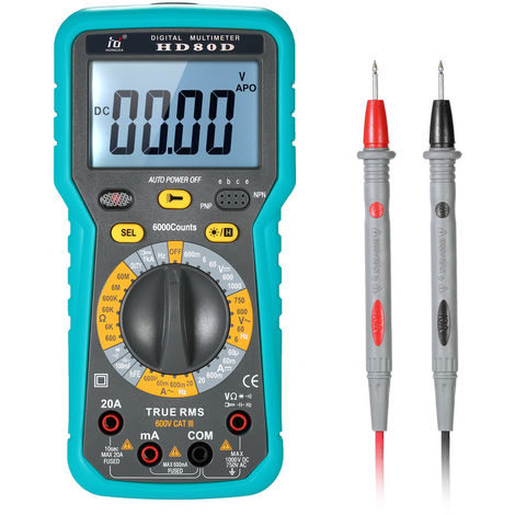 Multimeter DMM LCD with Backlight 6000 Counts Display True RMS AC/DC Voltage Current