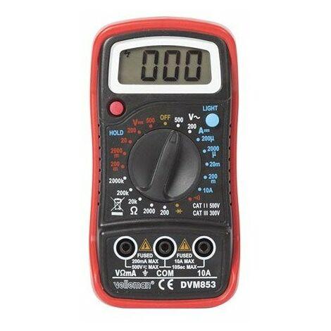 Multimetre numerique - cat. iii 300 v / cat. ii 500 v - 1999 points - fonction memoire / retroeclairage / ronfleur
