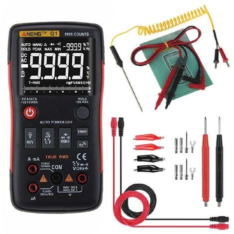 Multimètre numérique, DC Tension de courant AC Résistance de capacité NCV Température Véritable testeur de diode RMS de 9999