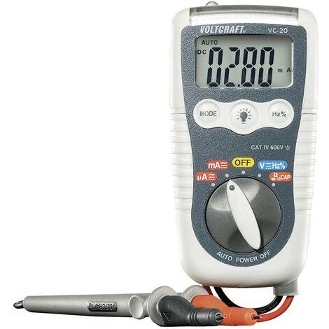 Multimètre numérique VOLTCRAFT VC-20 protégé contre les projections deau (IP54) CAT IV 600 V Affichage (nombre de points):4000
