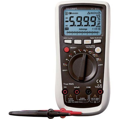 Multimètre numérique VOLTCRAFT VC850 CAT III 1000 V, CAT IV 600 V Affichage (nombre de points):6000