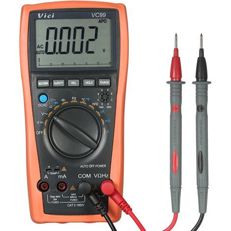 Multimetro digital, con detector de temperatura, probador de diodos de resistencia capacitiva