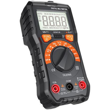 Multimetro Meterk 2000 palabras, el alcance automatico, el valor real efectivo, con la linterna, correspondientes bateria de 9 V, negro