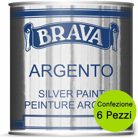 Multipack 6 pezzi argento brava vernice a pennello per interno e esterno ml 750